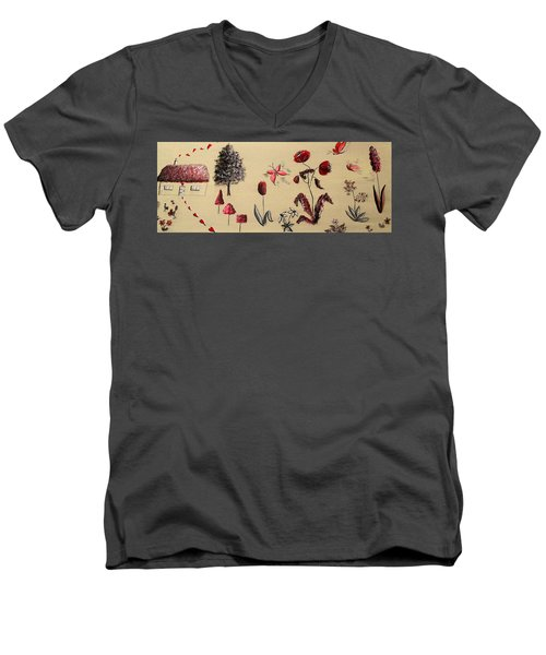 Heart Cottage Red 3 Men's V-Neck T-Shirt by Kathy Spall