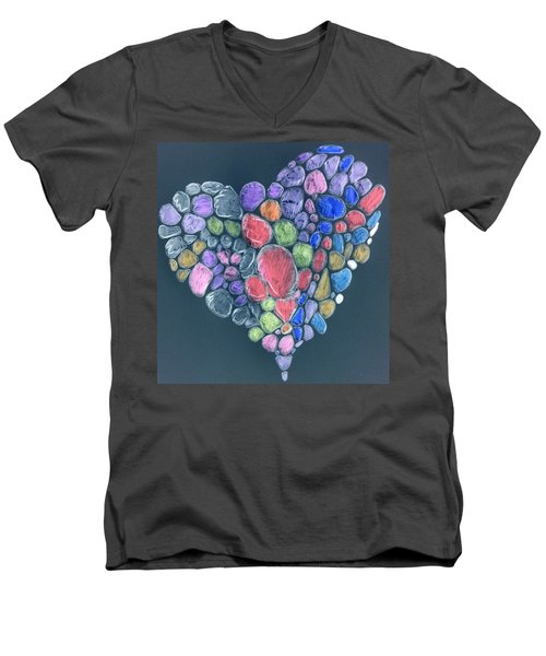 Heart Mosaic Men's V-Neck T-Shirt