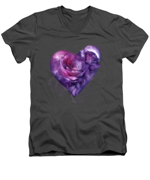 Heart Of A Rose - Burgundy Purple Men's V-Neck T-Shirt