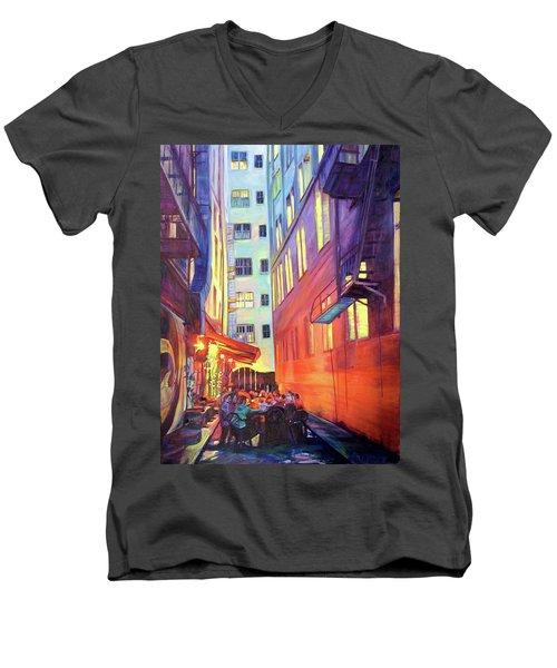 Heart Of The City Men's V-Neck T-Shirt by Bonnie Lambert