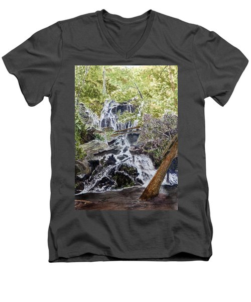 Men's V-Neck T-Shirt featuring the painting Heart Of The Forest by Joel Deutsch