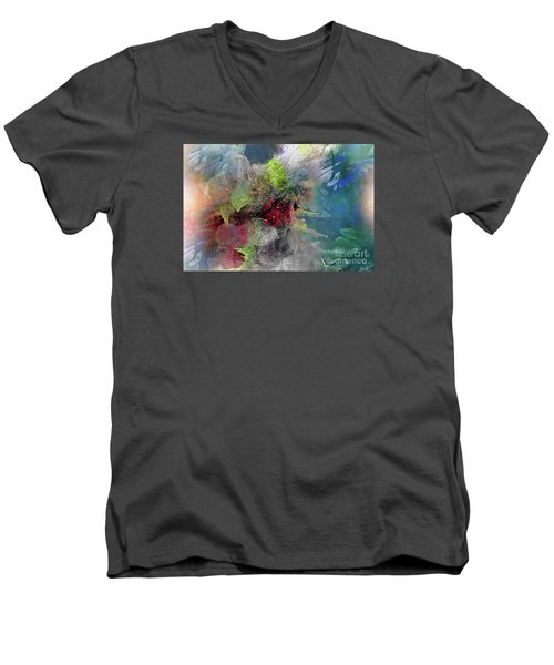 Men's V-Neck T-Shirt featuring the painting Heart Of The Matter by Allison Ashton