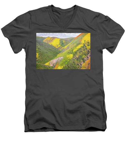 Men's V-Neck T-Shirt featuring the photograph Heart Of The Temblor Range by Marc Crumpler