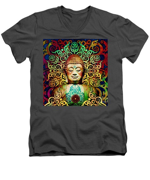 Heart Of Transcendence - Colorful Tribal Buddha Men's V-Neck T-Shirt by Christopher Beikmann