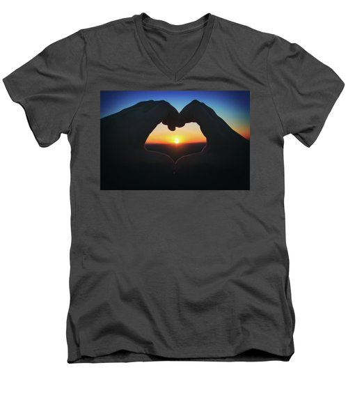 Men's V-Neck T-Shirt featuring the photograph Heart Shaped Hand Silhouette - Sunset At Lapham Peak - Wisconsin by Jennifer Rondinelli Reilly - Fine Art Photography