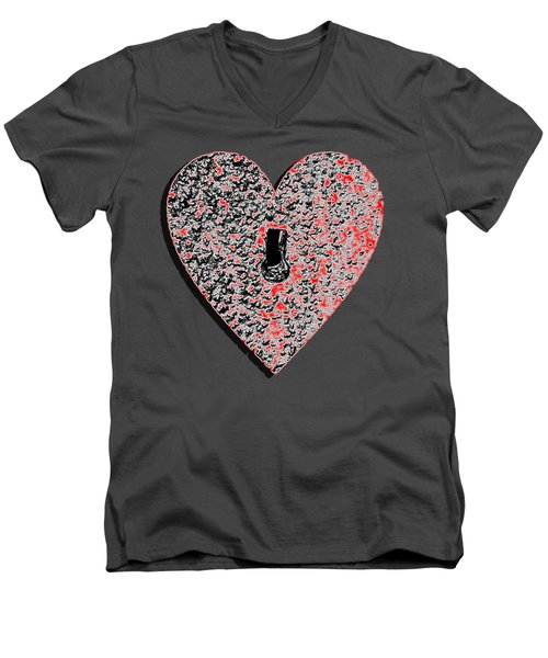 Heart Shaped Lock Red .png Men's V-Neck T-Shirt by Al Powell Photography USA