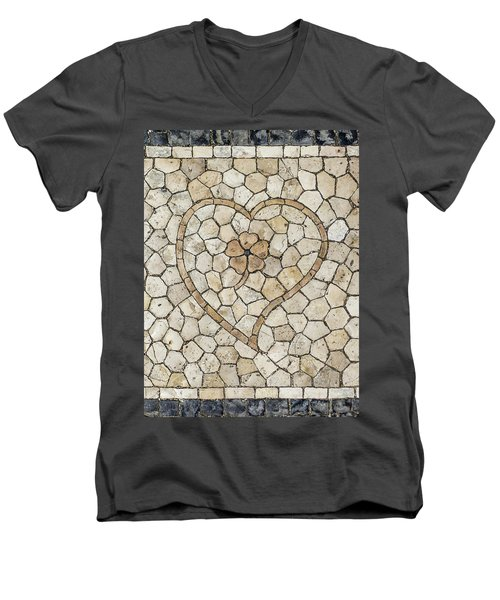 Heart Shaped Traditional Portuguese Pavement Men's V-Neck T-Shirt