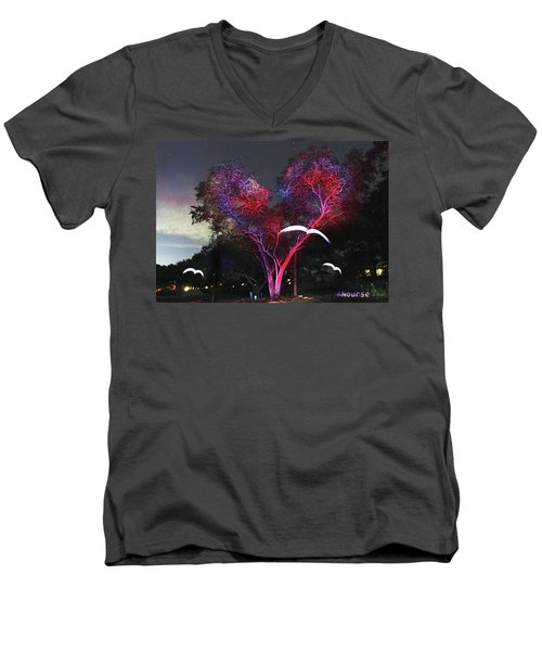 Heart Tree And Birds Men's V-Neck T-Shirt by Andrew Nourse