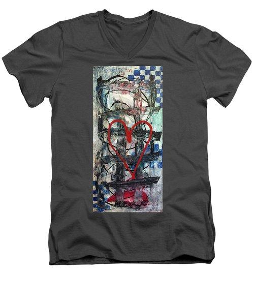 Heartbeat Men's V-Neck T-Shirt