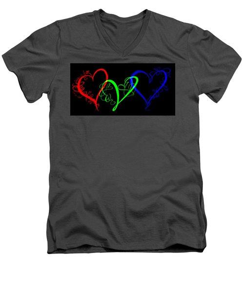 Hearts On Black Men's V-Neck T-Shirt