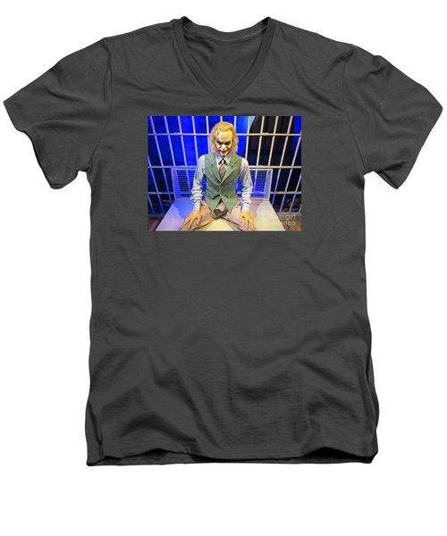 Heath Ledger As The Joker Men's V-Neck T-Shirt by John Malone