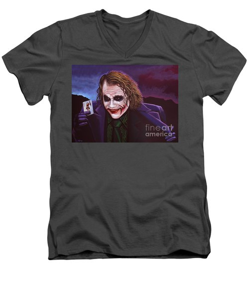 Heath Ledger As The Joker Painting Men's V-Neck T-Shirt by Paul Meijering