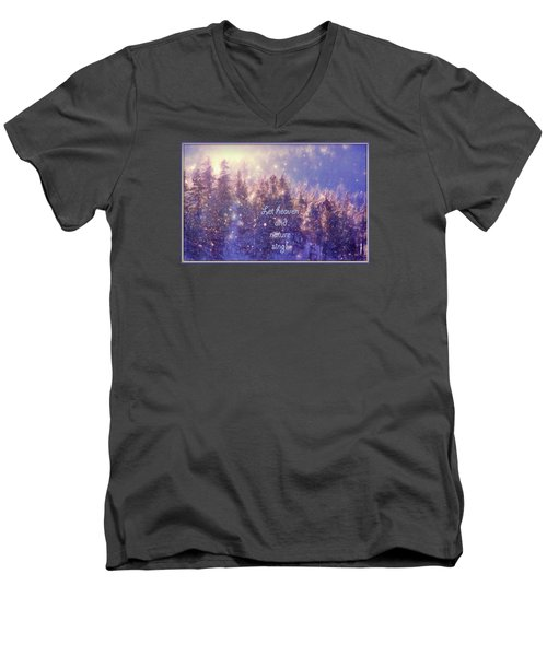 Men's V-Neck T-Shirt featuring the photograph Heaven And Nature by Kathy Bassett