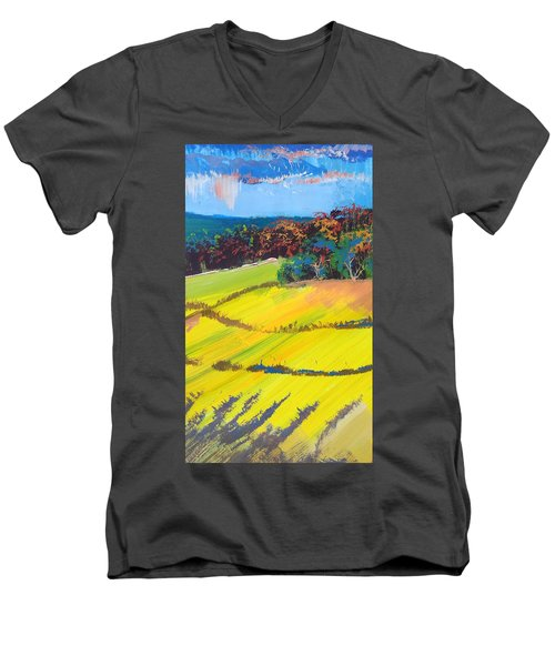 Heavenly Haldon Hills - Colorful Trees Landscape Painting Men's V-Neck T-Shirt
