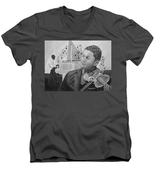 Men's V-Neck T-Shirt featuring the painting Heavenly Music by Quwatha Valentine