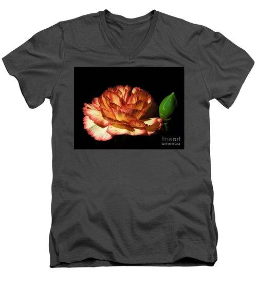 Heavenly Outlined Carnation Flower Men's V-Neck T-Shirt