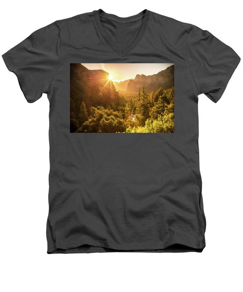 Men's V-Neck T-Shirt featuring the photograph Heavenly Valley by Kristopher Schoenleber