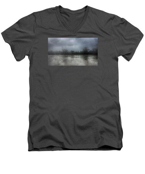 Heavy Rain Over A River Men's V-Neck T-Shirt