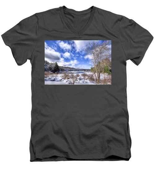 Men's V-Neck T-Shirt featuring the photograph Heavy Snow At The Green Bridge by David Patterson