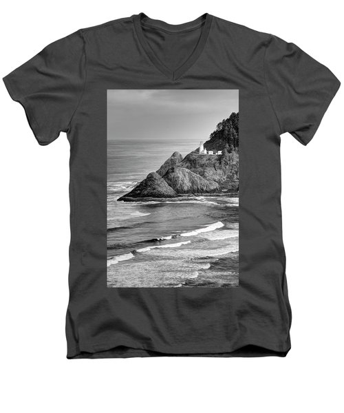 Heceta Head Light In Black And White Men's V-Neck T-Shirt