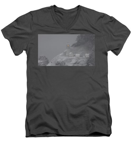 Heceta Lighthouse Snowstorm Men's V-Neck T-Shirt by Kenny Henson