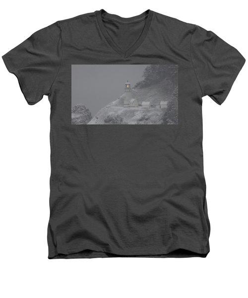 Heceta Lighthouse Snowstorm Men's V-Neck T-Shirt