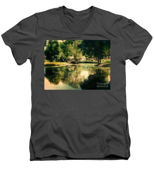 Heckscher Park Pond, Huntington Ny Men's V-Neck T-Shirt