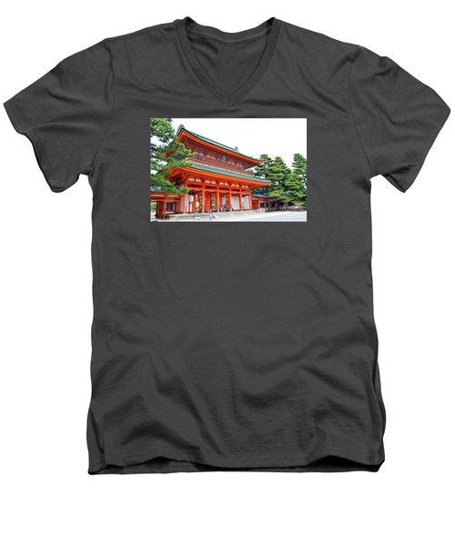 Men's V-Neck T-Shirt featuring the digital art Heian Shrine And Okazaki Park  by Eva Kaufman