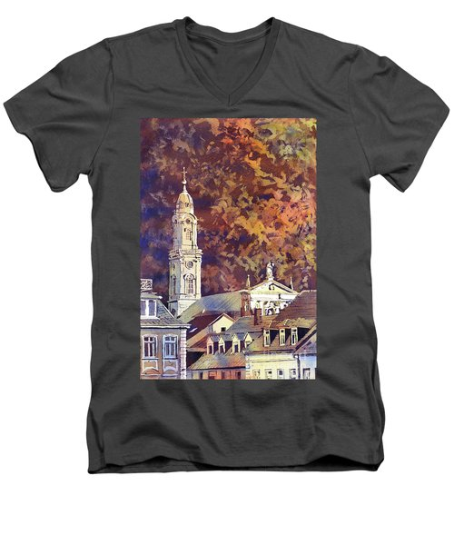 Men's V-Neck T-Shirt featuring the painting Heidelberg Evening by Ryan Fox