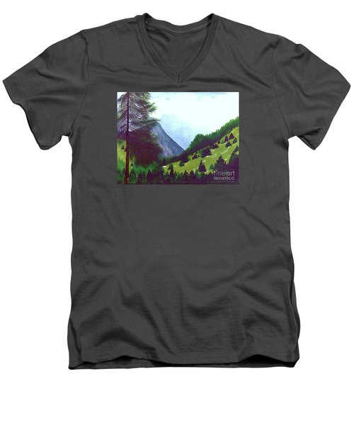 Men's V-Neck T-Shirt featuring the painting Heidi's Place by Patricia Griffin Brett