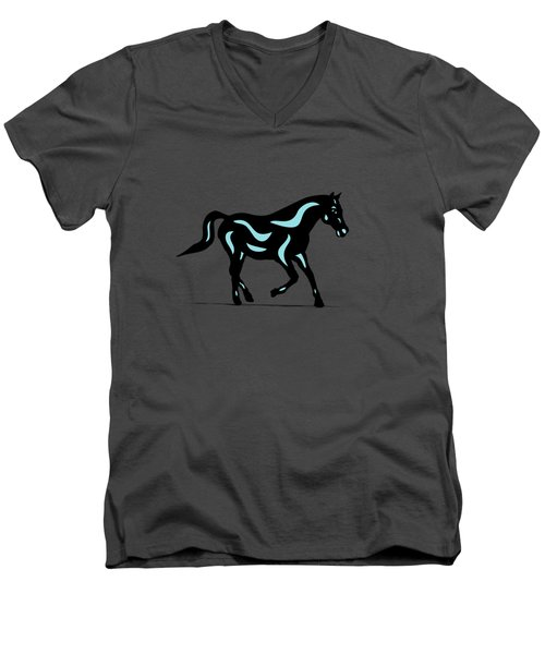 Heinrich - Pop Art Horse - Black, Island Paradise Blue, Greenery Men's V-Neck T-Shirt