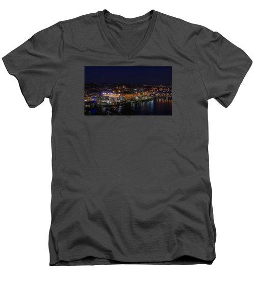 Heinz Field At Night From Mt Washington Men's V-Neck T-Shirt