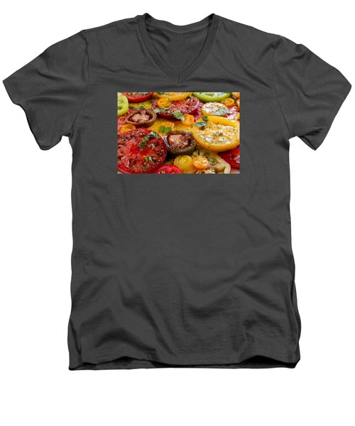 Heirloom Tomatoes With Basil Men's V-Neck T-Shirt