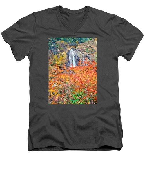 Helen Hunt Falls Autumn V Bridge Men's V-Neck T-Shirt