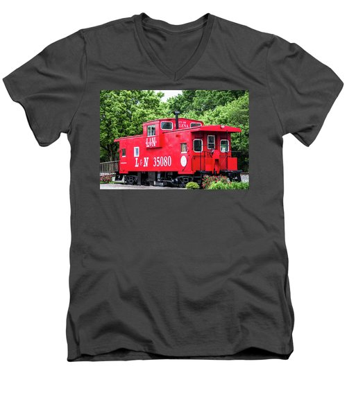 Men's V-Neck T-Shirt featuring the photograph Helena Red Caboose by Parker Cunningham