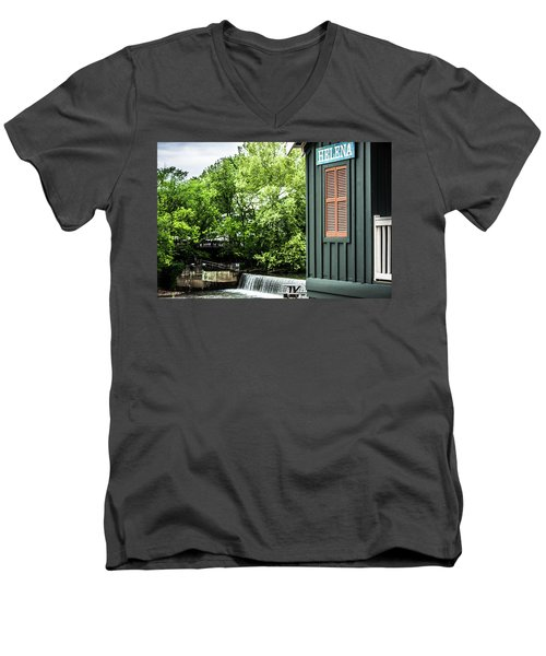 Men's V-Neck T-Shirt featuring the photograph Helena Sign By Buck Creek by Parker Cunningham