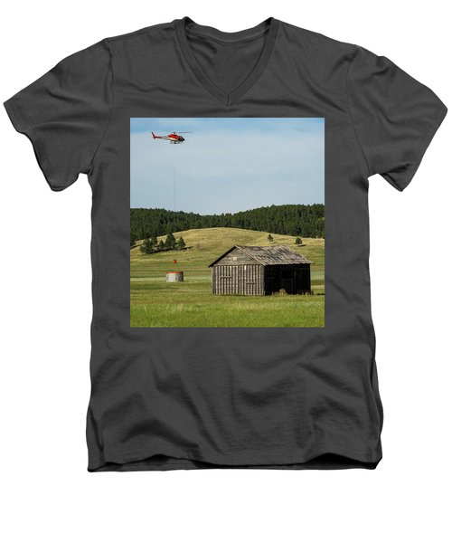 Helicopter Dips Water At Heliwell Men's V-Neck T-Shirt by Bill Gabbert