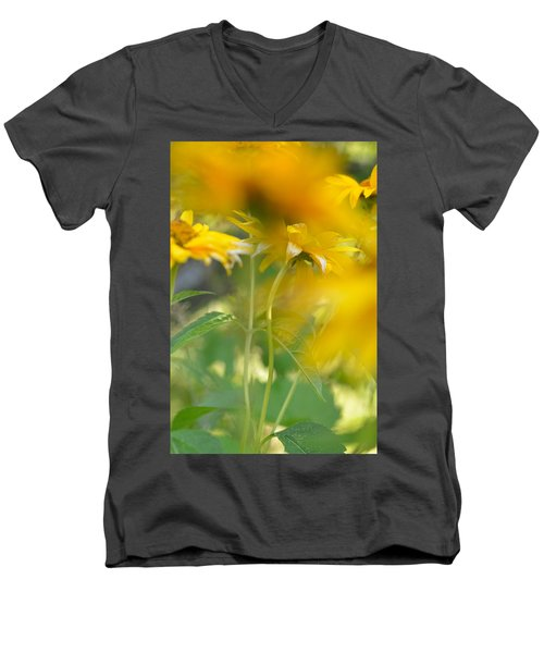 Heliopsis Blur Men's V-Neck T-Shirt by Janet Rockburn