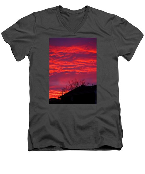 Men's V-Neck T-Shirt featuring the photograph Hell Over Ontario by Valentino Visentini