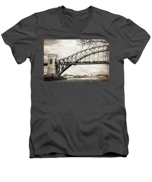 Hellgate Bridge In Sepia Men's V-Neck T-Shirt