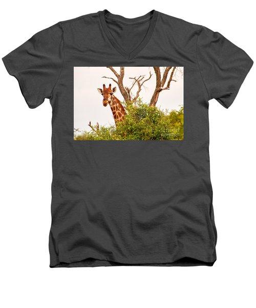 Hello Men's V-Neck T-Shirt by Juergen Klust