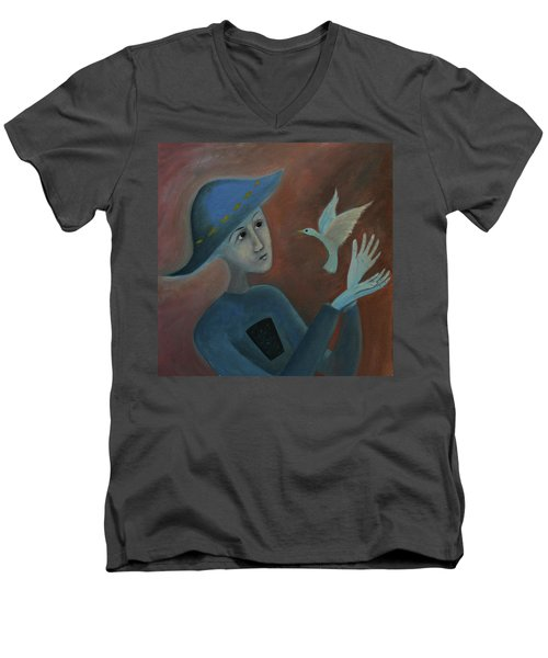 Men's V-Neck T-Shirt featuring the painting Hello To You by Tone Aanderaa