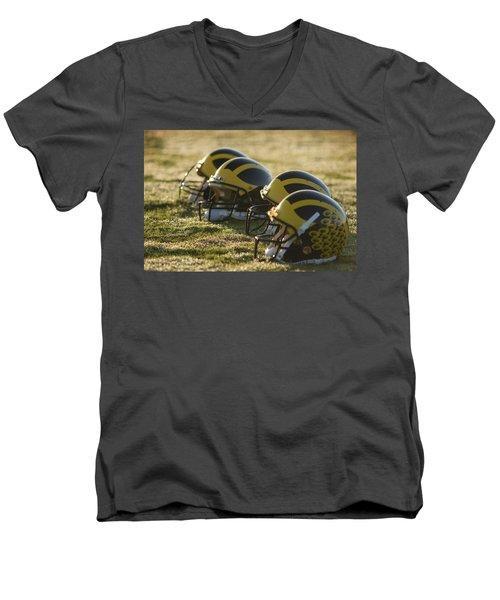 Helmets On The Field At Dawn Men's V-Neck T-Shirt