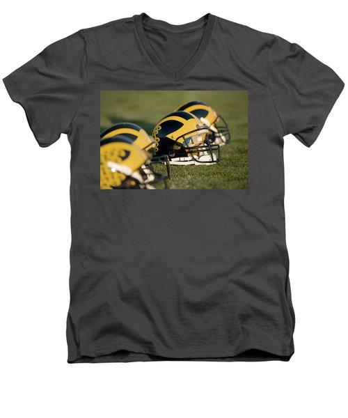 Helmets On The Field Men's V-Neck T-Shirt
