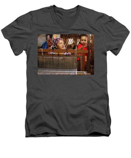 Men's V-Neck T-Shirt featuring the photograph Helping Mom With The Weaving by Laurel Talabere