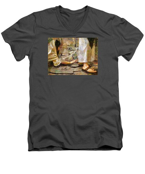 Hem Of His Garment Men's V-Neck T-Shirt by Wayne Pascall