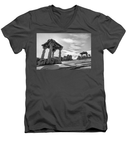 Men's V-Neck T-Shirt featuring the photograph Hemakuta Hill, Hampi, 2017 by Hitendra SINKAR