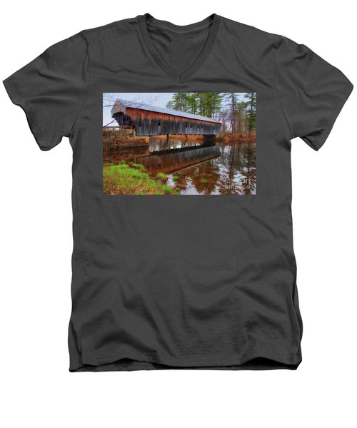 Hemlock Covered Bridge Fryeburg Maine Men's V-Neck T-Shirt