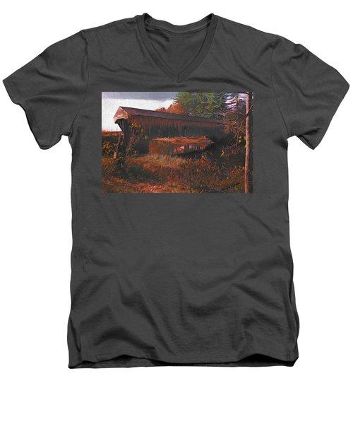 Hemlock Covered Bridge Men's V-Neck T-Shirt