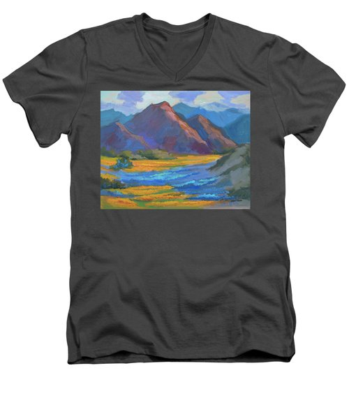 Men's V-Neck T-Shirt featuring the painting Henderson Canyon Borrego Springs by Diane McClary